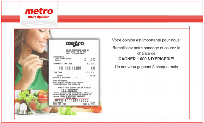 Concours Métro Sondage (MetroSondage.ca)