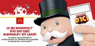 Concours Monopoly McDonald's Canada 2017
