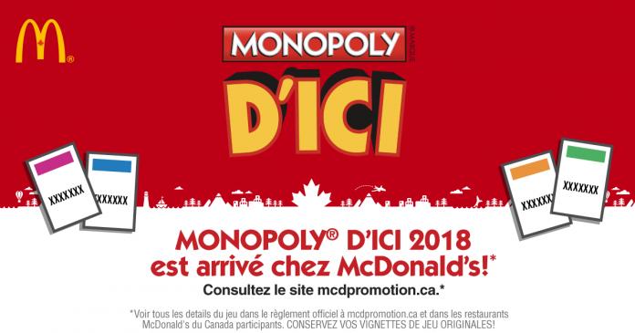 Concours McDo Monopoly 2018